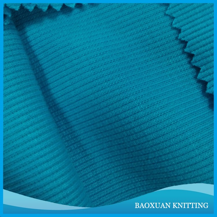 100%polyester light blue double-sided with elasticity rib fabric used as blankets