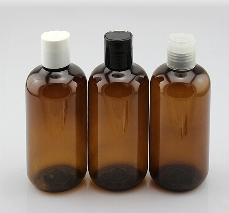 250ml 8oz plastic amber pet cosmetic bottle for cleanser with press cap