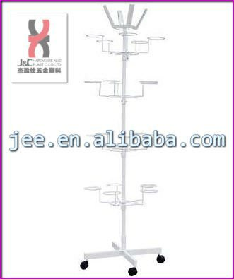 Elegant design Rotating flooring baseballcap display shelf with wheels/ white steel shop display hat holders stand