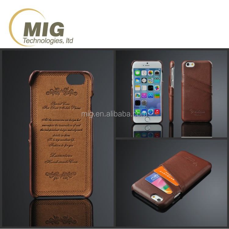 Plain phone accessory wholesale Litchi pattern leather phone case for iphone 6s plus case with card ports and embossing words