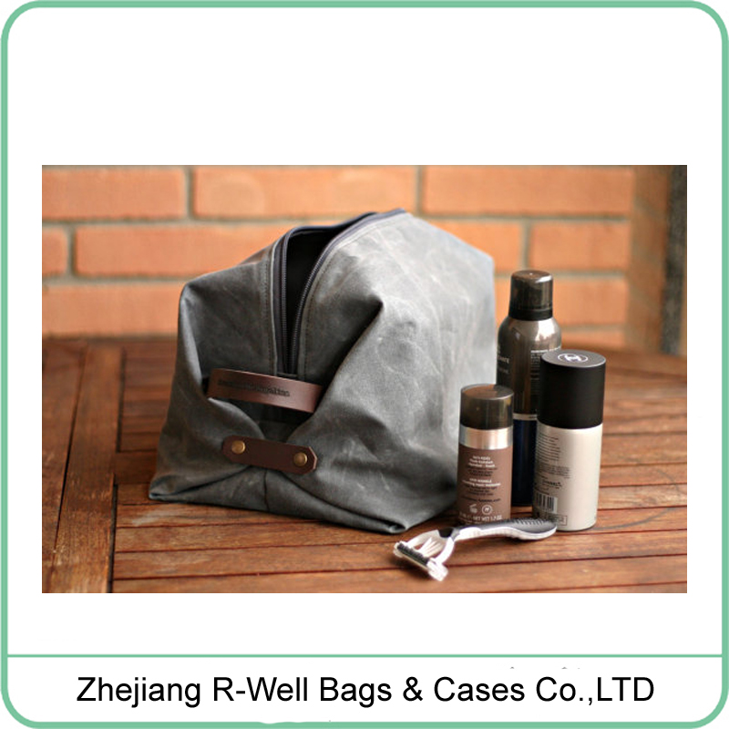 Retro mens waxed canvas leather toilet kit bag