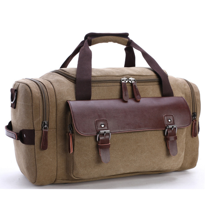 High quality canvas leather duffle bag large capacity weekend bags for travel
