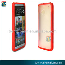 hot selling 2tone color transparent back cover pc case for HTC ONE M7