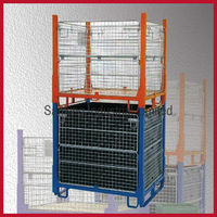 stackable and collapsible 50*50mm metal pallet cages
