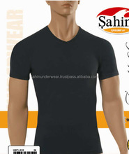MEN COTTON LYCRA V NECK BODY T SHIRT