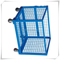 Folded metal storage cages with wheels
