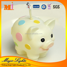 Printing Color Dots Funny Pig Animal Shaped Gift Candle