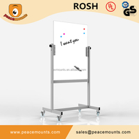 GB-05 Metal frame mobile magnetic tempered glass writing whiteboard with stand for office or business use