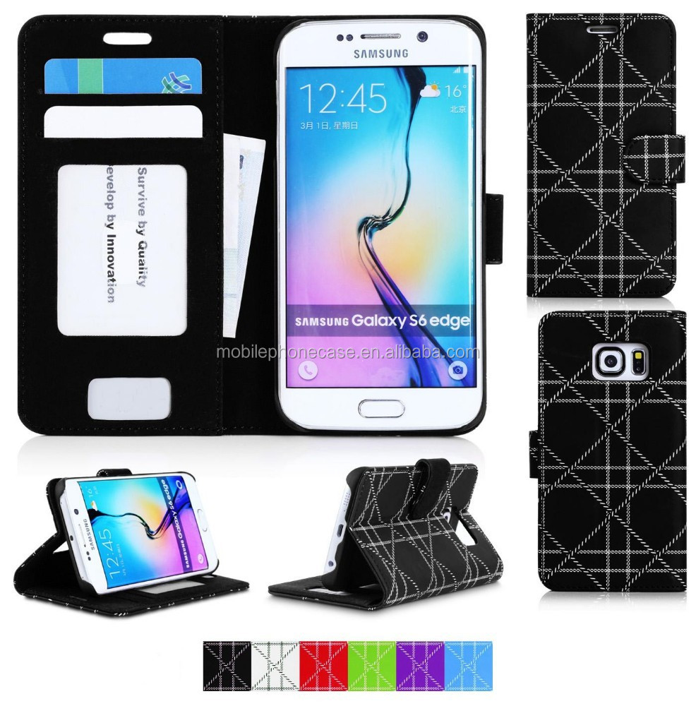 OEM and ODM Wallet flip mobile phone case for Samsung S6 Edge