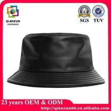 Custom plain leather man xl bucket hats