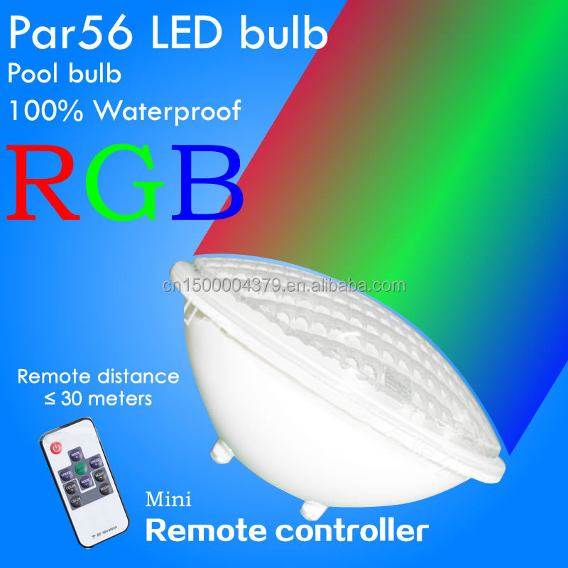 Wholesale RGB swimming pool LED light par56 underwater lights RF remoter lamp 18W fountain bulbs outdoor light waterproof ip68