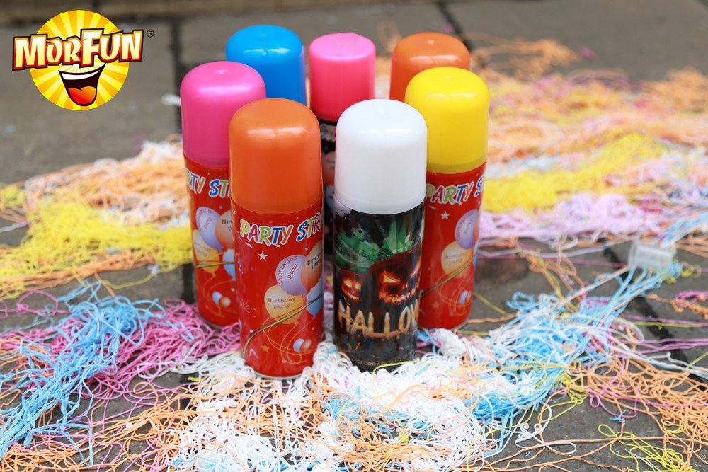 Bologna Best Selling 1st birthday party decorations spray flocking blue silly string bulk
