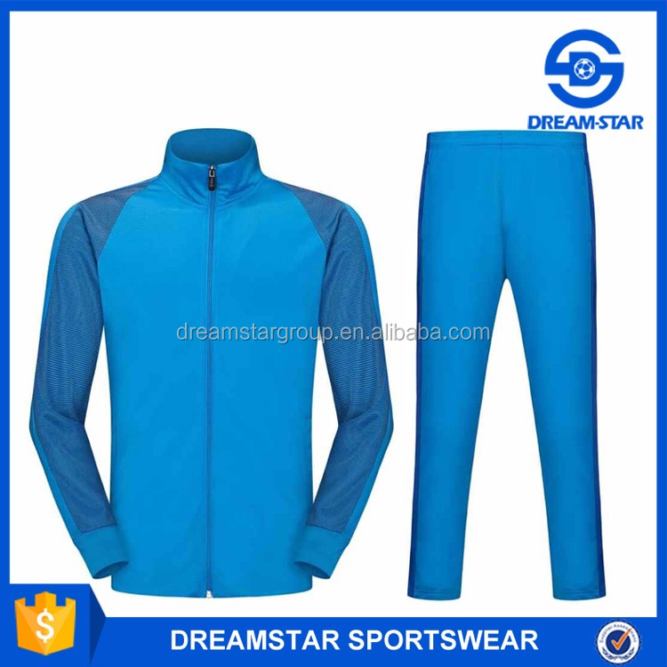 Custom Design Logo Blank Blue Soccer Jacket
