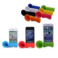 Portable Silicone Horn Cell Phone Mobile Stand Trumpet Holder Amplifier Loudspeaker