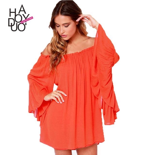 HAODUOYI Solid Orange Women Mini Dress Long Butterfly Sleeve Slash Neck Pleated Loose Dress Backless Party Vestido For Wholesale