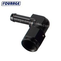Black CNC Billet Aluminum 90 Degree Female Swivel AN6 6AN To 3/8 Push on Hose Barb Fuel Line Fitting Adapter