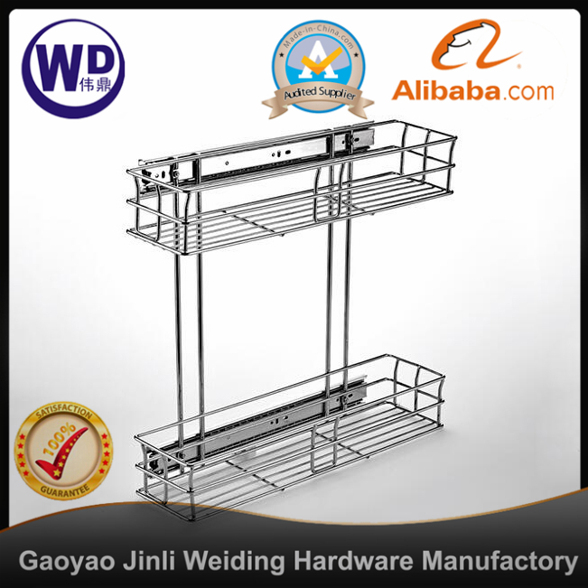 side mount pull out drawer hardware 2 layer cabinet basket