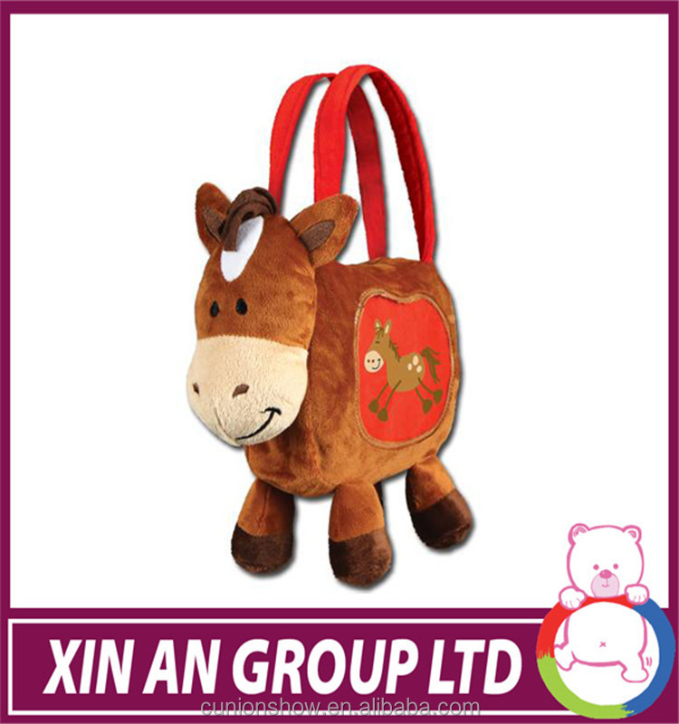 EN71, ASTM certificated high quality cute pony plush bag