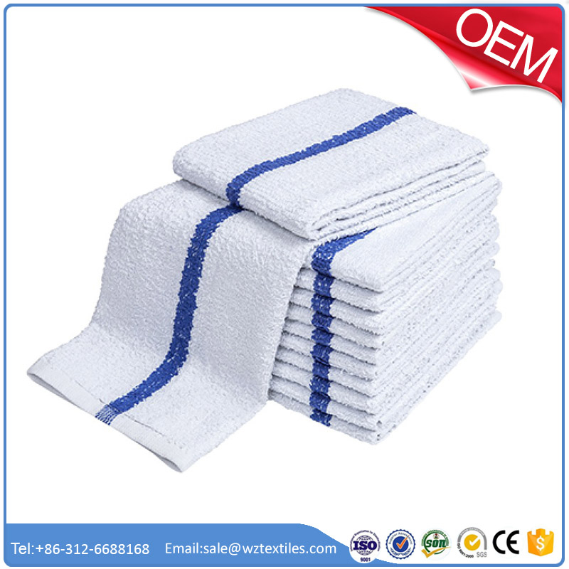 One Dozen (12) Kitchen Towels , White with Colored Stripe (Choose Blue, Green or Red Stripe)