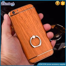 Customized design wood pattern case with ring stand plastic mobile phone cover for iphone 6s plus