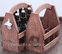 Stain Color Handraft Wood Beer Tote Wood Six Pack Carrier