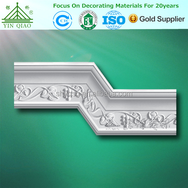 Curved Flower Design Gypsum Plaster of Paris Cornice Ceiling Moulding