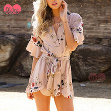 2018 New Cross Front Deep V Neck Chiffon Short Ladies Jumpsuit