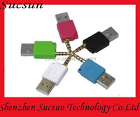Factory wholesale high quality colored 3.5mm to USB converter/adapter/adaptor