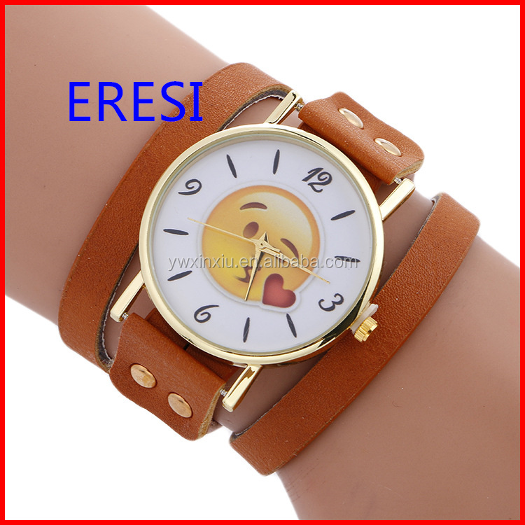 Fashionable Leather Vintage Wrist Watch Big Happy Face Case Welcome Customer Logo Watch Women
