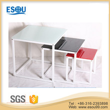 Modern Glass Top Center Side Table With Metal Legs Nest Table