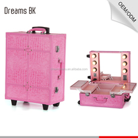 2016 newest design professional pink pvc trolley makeup case with 6 lights mirror for beauty salon