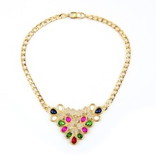 India Style Colorful Water Drop Crystal Choker Necklace Statement Jewelllery