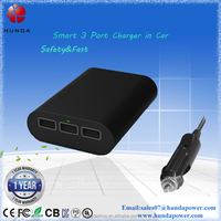 3 usb port charging in car dc 12v-24v input power supply for 18650 battery power bank/cell phones/tablet pc