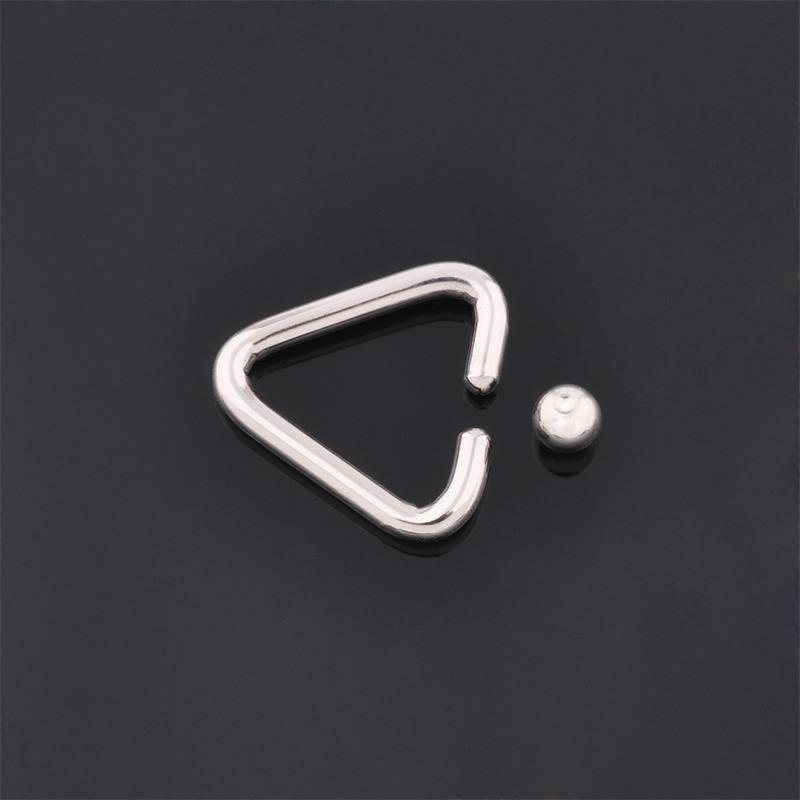 Surgical steel labret lip tragus helix BCR captive bead triangle nose ring