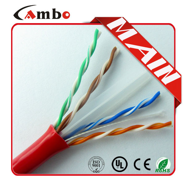 Made In China 305m pre roll UL list CMP 550Mhz soild bare copper 0.57mm cat 6 kabel