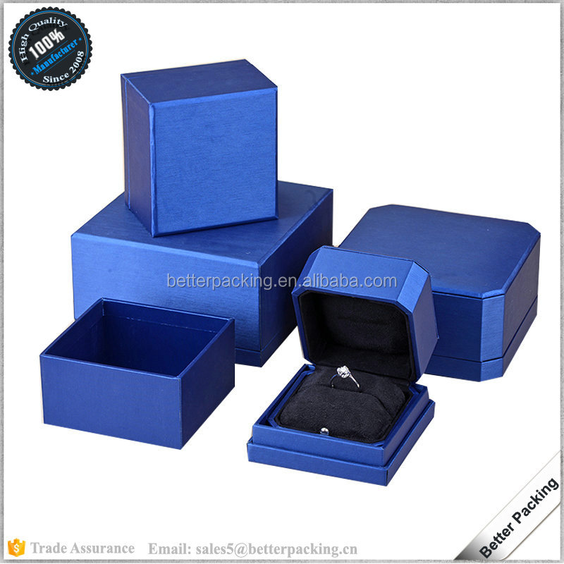 high quality octagon shape plastic suede jewelry ring packaging box custom logo