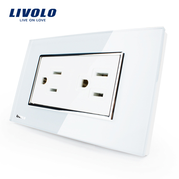 Livolo US Standard Power Socket Outlet White Crystal Glass, 15A, AC 125~230V, Wall Powerpoints With Plug,VL-C3C2US-81
