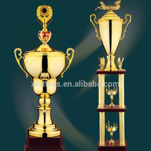 2015 High quality custom wooden base metal award trophies