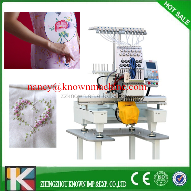 commercial 15 colors single head computer embroidery machine price for cap/t-shirt/flat embroidery