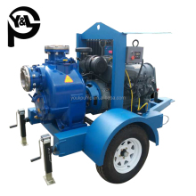 Farm irrigation diesel engine 2-wheel trailer mounted water pump with weather-proof cover