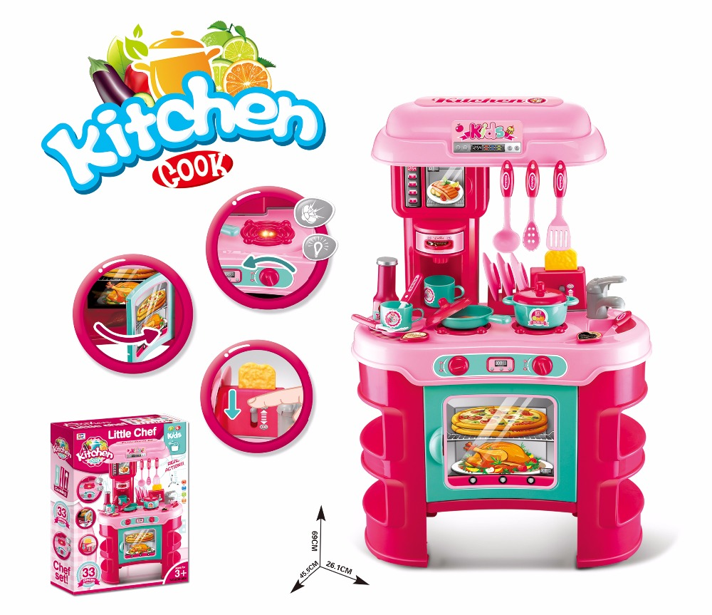 Kids 19pcs pretend play Suitcase toy kitchen play toy set with light and sound