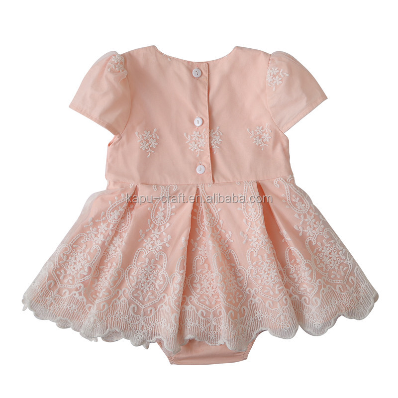 2017 Summer new design fashion baby clothing boutique girls dress flower lace baby dress