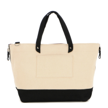 Fashion Zipper Cotton Canvas Wholesale Tote Bag With Side Pocket