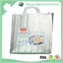 Plastic insulated aluminium foil food delivery cooler bag for frozen food
