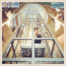Glass doors Stainless Steel Panoramic Elevators for shopping mall with 1 year warranty