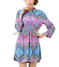 Latest Fashion Casual floral print shirt women chiffon casual shirt for women