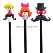 Custom your own character 3d cartoon pencil cap/Rubber Pencil Toppers Toys/OEM Mini Pencil Tops Pen Topper