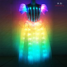 Long Rainbow Colorful LED Dress, Fiber Optic christmas light up party dress