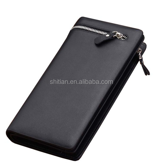 Brand men's business casual long wallet , zipper versatile clutch bag men , solid high-grade PU leather purse