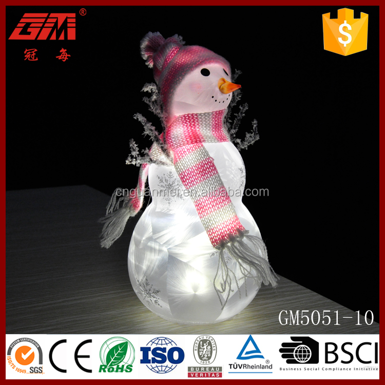 Hot sale cute led glass snowman crafts for Christmas decoration